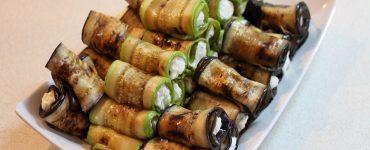 Рулца от тиквички с козе сирене и зелено олио